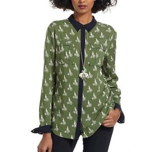 Anthropologie Maeve Bagatelle Blouse Bicycle 0